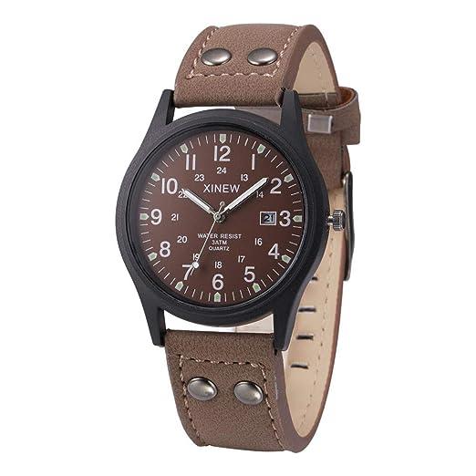 Cebbay Reloj Deportivo para Hombre Correa de Cuero Casual de Negocios Reloj Militar Vintage de Cuarzo