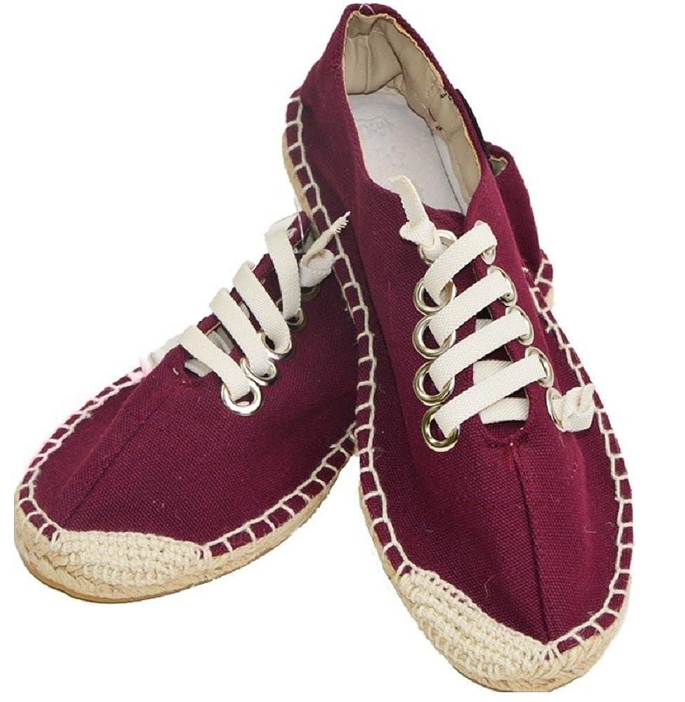 tangzhiwu de la Mujer Plus tamaño Hecho a Mano Espadrilles Zapato de Ronda Toe Sandalias Lienzo Chino Flats: Amazon.es: Zapatos y complementos