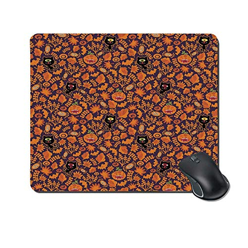 Vintage Halloween Durable Mouse Pad,Halloween Themed Elements on a Purple Background Scary Mosters Decorative for Office Home,9.4