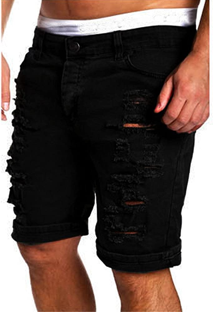 Kirbaez Mens Shorts Casual Jeans Destroyed Knee Length Outdoors Workout with Pockets Hole Ripped Cotton Shorts Pants