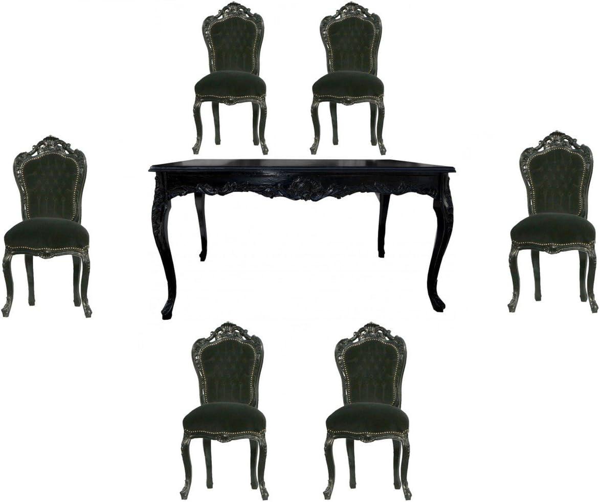 Casa Padrino Juego de Comedor Barroco Negro/Negro - Mesa de ...