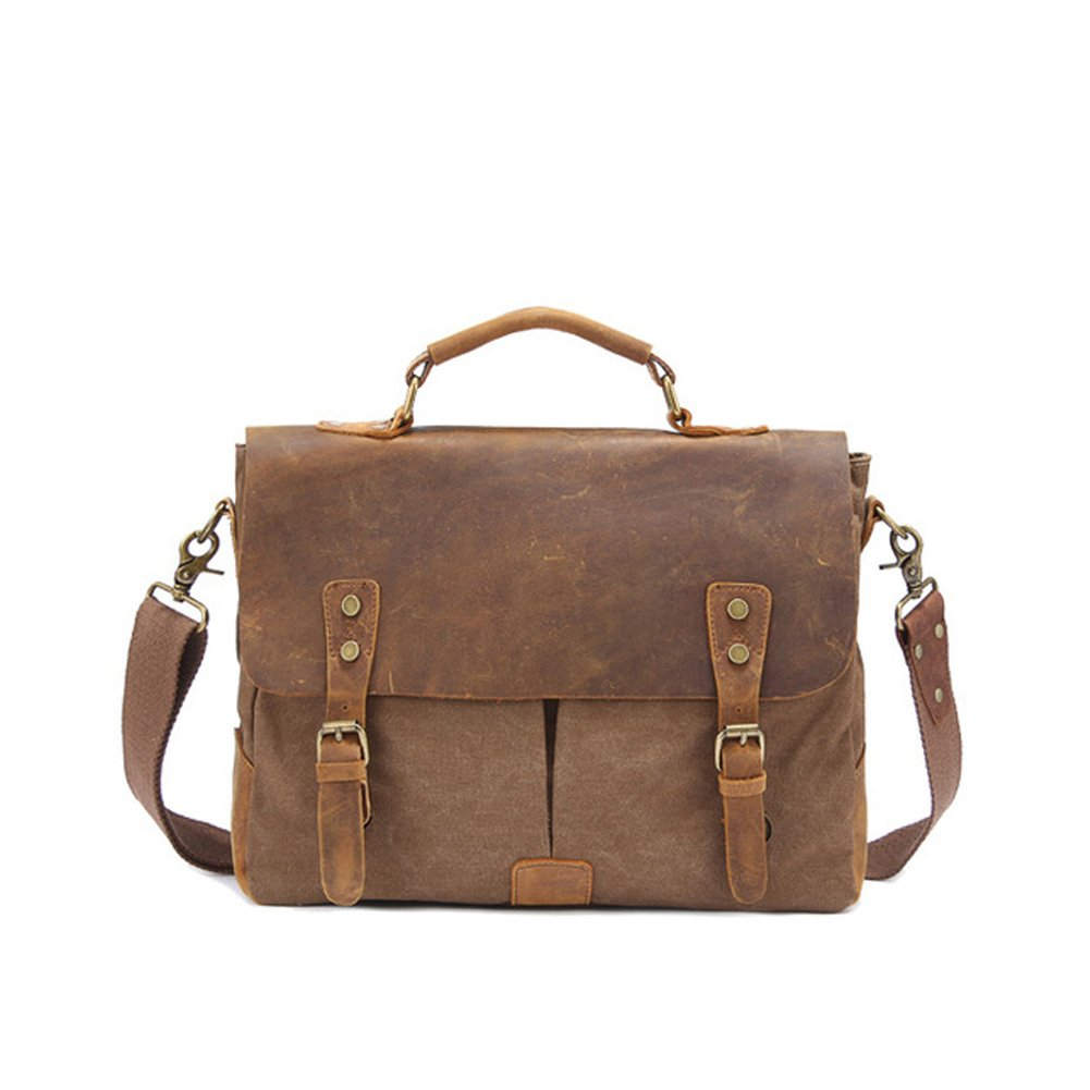Messenger Bag,Bienna Vintage Briefcase Canvas Leather Satchel Laptop Over Shoulder Crossbody Purse Side Bags with Strap for Men Women School Outdoor Sports EDC 14 inch-Coffee