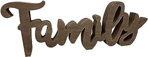 Cutout Wood Family Tabletop Decor, Decorative Freestanding Family Block Letters Sign, Rustic Farmhouse Family Mantel Fireplace Desk Shelf Home Decor, Antique Brown, 15-3/4