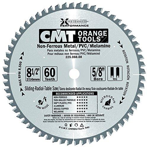 CMT 225.060.08 Industrial Non-Ferrous Metal, PVC & Melamine Saw Blade, 8-1/2-Inch x 60 Teeth TCG Grind with 5/8-Inch Bore