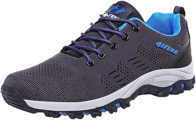OPAKY Zapatos Running Hombre Zapatillas de Senderismo de Malla Transpirable de Verano para Hombre Zapatillas de Escalada con Cordones Antideslizantes Zapatos para Correr Athletic: Amazon.es: Zapatos y complementos