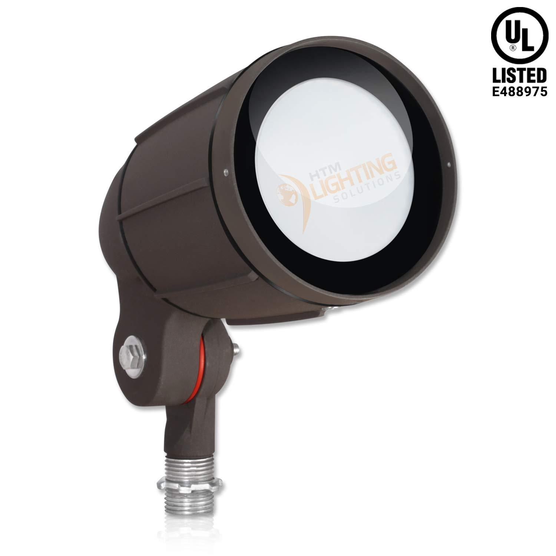 "12W LED Bullet Flood Light for Landscape Lighting - ½"" NPT Thread Adjustable - 1200lm - 100-277VAC - IP65 Rated Wet Location UL Listed - Bronze Finish - 3000K Warm White - 30° Tight Distribution"