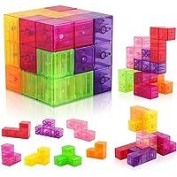 Coogam Carré Blocs de Construction Magnétiques - 3D Puzzle Tetris Magnétique Jouet Anti-Stress pour Enfants Carré Aimants Cube Jeu de Réflexion pour Adulte