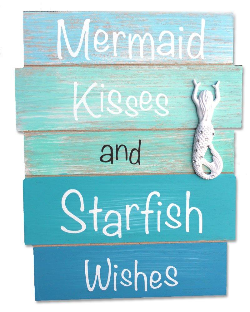 Amazon.com: Mermaid Kisses and Starfish Wishes - Coastal Wood Plank ...