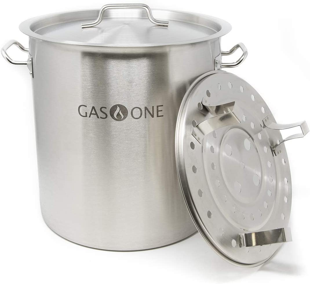 GasOne ST-32 Gas One Stainless Steel Stock 8 Gallon with lid/cover & Steamer Rack, Tamale, Dumpling, Crawfish, Crab Pot/Steamer Thickness 1mm Perf, Silver