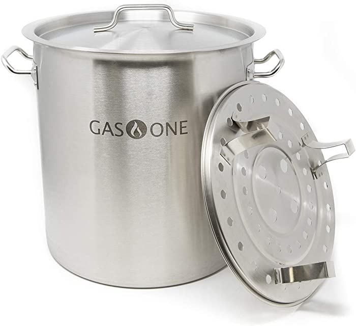 GasOne Stainless Steel Stock Pot with Steamer 6-Gallon with lid/Cover & Steamer Rack, Tamale, Dumpling, Crawfish, Crab Pot/Steamer Thickness 1mm Perfect for Homebrewing & Boiling Sap for Maple Syrup