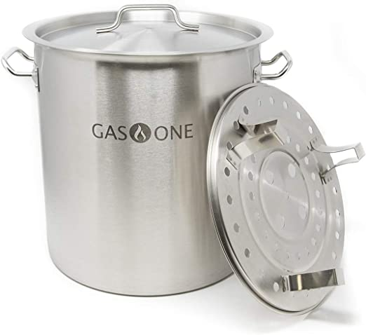 Amazon Com Gasone St 40 Gas One Stainless Steel Stock 10 Gallon With Lid Cover Steamer Rack Tamale Dumpling Crawfish Crab Pot Steamer Thickness 1mm Per Kitchen Dining