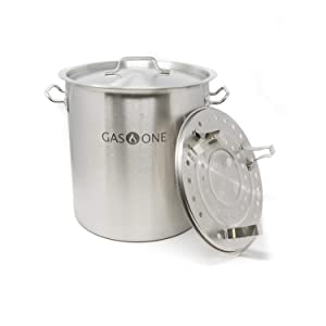Gas One Stainless Steel Stock Pot with Steamer 8 Gallon with lid/cover & Steamer Rack, Tamale, Dumpling, Crawfish, Crab Pot/Steamer Thickness 1mm Perfect for Homebrewing & Boiling Sap for Maple Syrup
