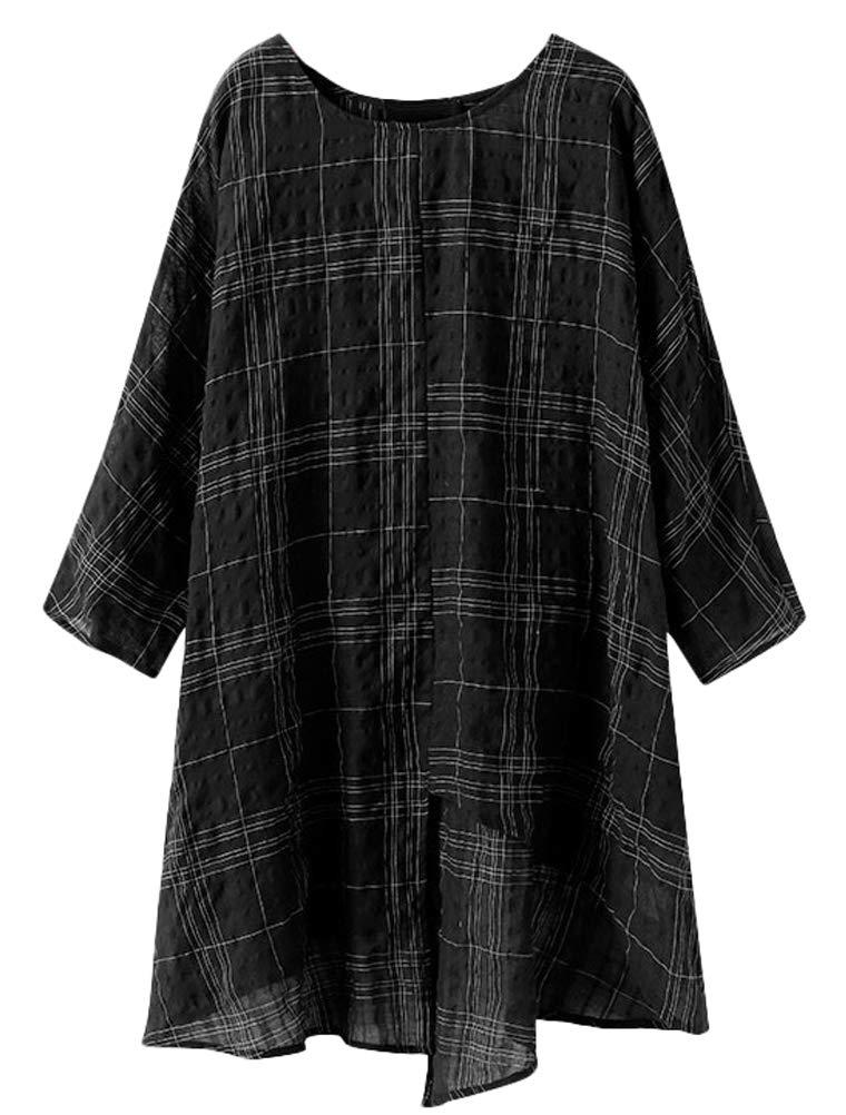 Minibee Women's Plaid Linen Blouse High Low Asymmetrical Tunic Tops Plus Size Shirt Black 3XL by Minibee