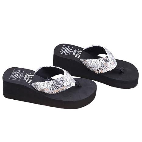 e16d3b8708 Image Unavailable. Image not available for. Color: Shoresu Summer Soft  Women Wedge Sandals Sequin Thong Flip Flops Platform ...