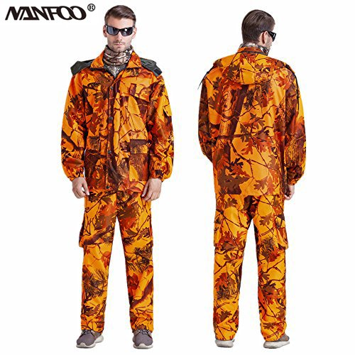 NANFOO New Outdoor Men's Blaze Orange Bionic Camouflage Hunting Suit Fishing Tactical Orange Ghillie Suit Military Clothes Jacket&Pants (XXXL, Jacket+Pant)