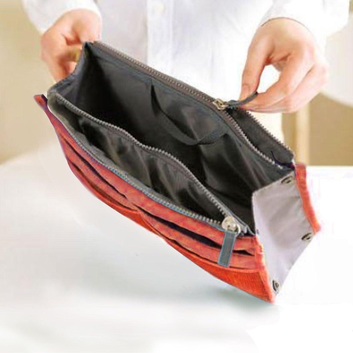 Expandable with Handles Dark Red Nylon Handbag Orangiser Tidy Travel Insert Comestic Gadget Purse Organizer Bag