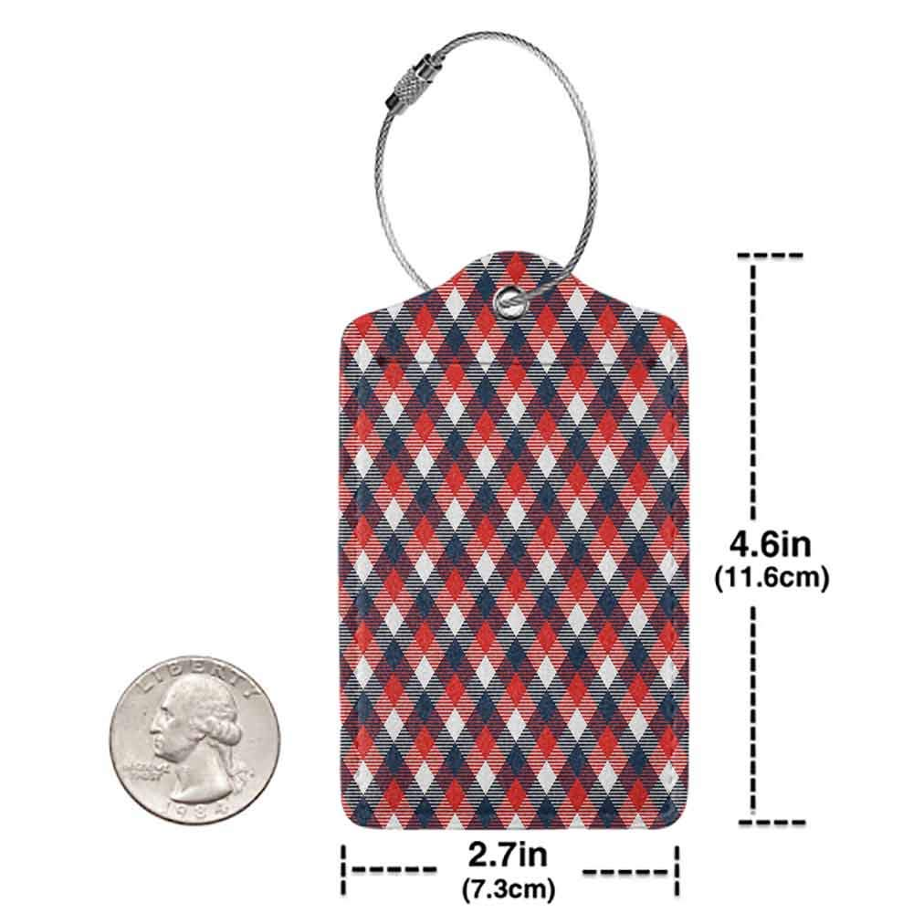 Personalized luggage tag Abstract Houndstooth Pattern in Colorful Bars Royal British Clan Style Design Easy to carry Dark Blue Red White W2.7 x L4.6