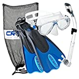 Cressi Palau Mask Fin Snorkel Set with Snorkeling Gear Bag, Blue, M/L | (Men's 7-10) (Women's 8-11)
