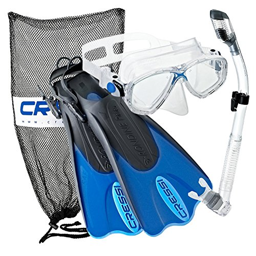 Cressi Palau Mask Fin Snorkel Set with Snorkeling Gear Bag, Blue, M/L | (Men's 7-10) (Women's 8-11) (Best Diving In Fiji)