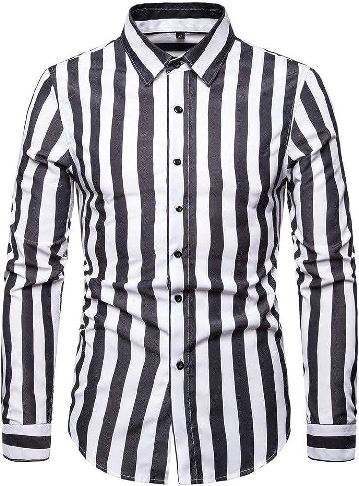 SXZG Camisa de Manga Larga para Hombre Nueva Camisa de Hombre de Gran Tamaño con Rayas Británicas