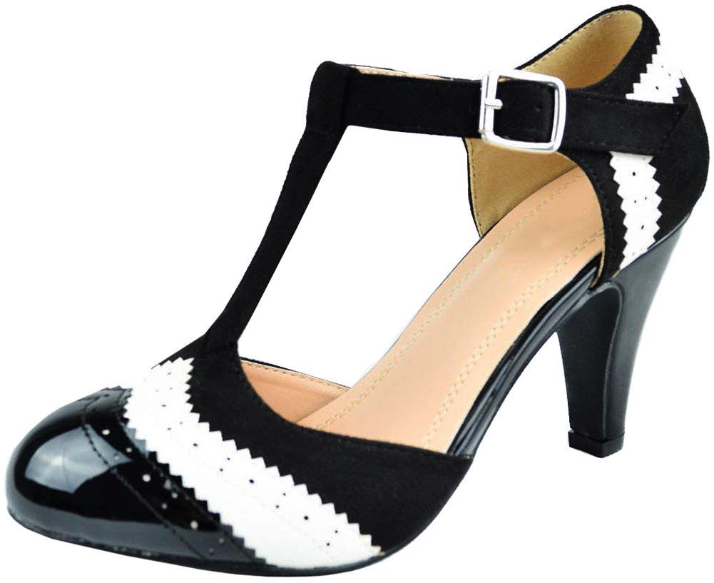Cambridge Select Women's Closed Toe T-Strap Wingtip Style Cut Out Mid Heel Dress Pump (8 B(M) US, Black/White)