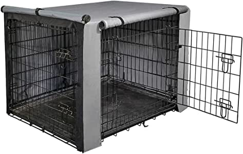 """yotache Dog Crate Cover for 18"""" Small Double Door Wire Dog Cage, Lightweight 600D Polyester Indoor/Outdoor Durable Waterproof & Windproof Pet Kennel Covers, Gray"""