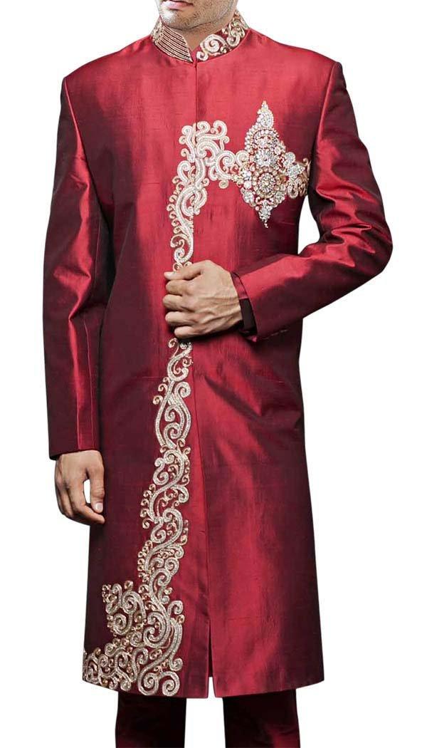 INMONARCH Mens Maroon 2 Pc Sherwani Bollywood Designer SH412S54 54 Short Maroon