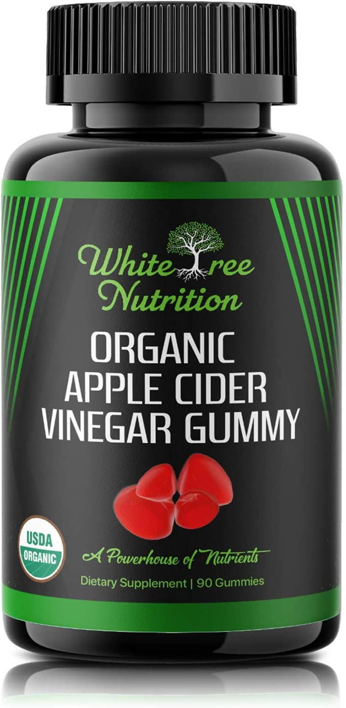 USDA Certified Organic Apple Cider Vinegar Gummies w/Mother – 90 CT - Immune Support - Apple Pectin - Energy Booster - Weight Loss - Stomach Relief - Gut Health – Detox Cleanse