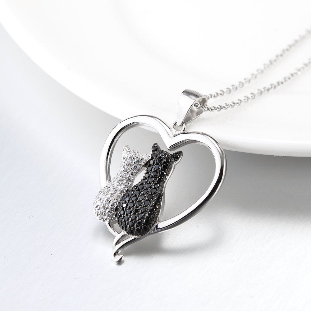 925 Sterling Silver Lovely Double Cat in Heart or Cat Fish Pendant Ncklace for Women Girls