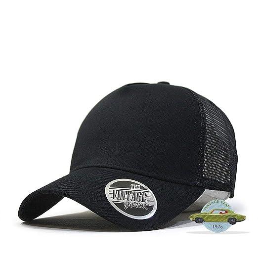 2d2cb054 Vintage Year Plain Cotton Twill Mesh Adjustable Snapback Trucker Baseball  Cap (Black)