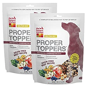 The Honest Kitchen Proper Toppers: Natural Human Grade Dehydrated Dog Superfoods, Grain Free Beef, 28 oz