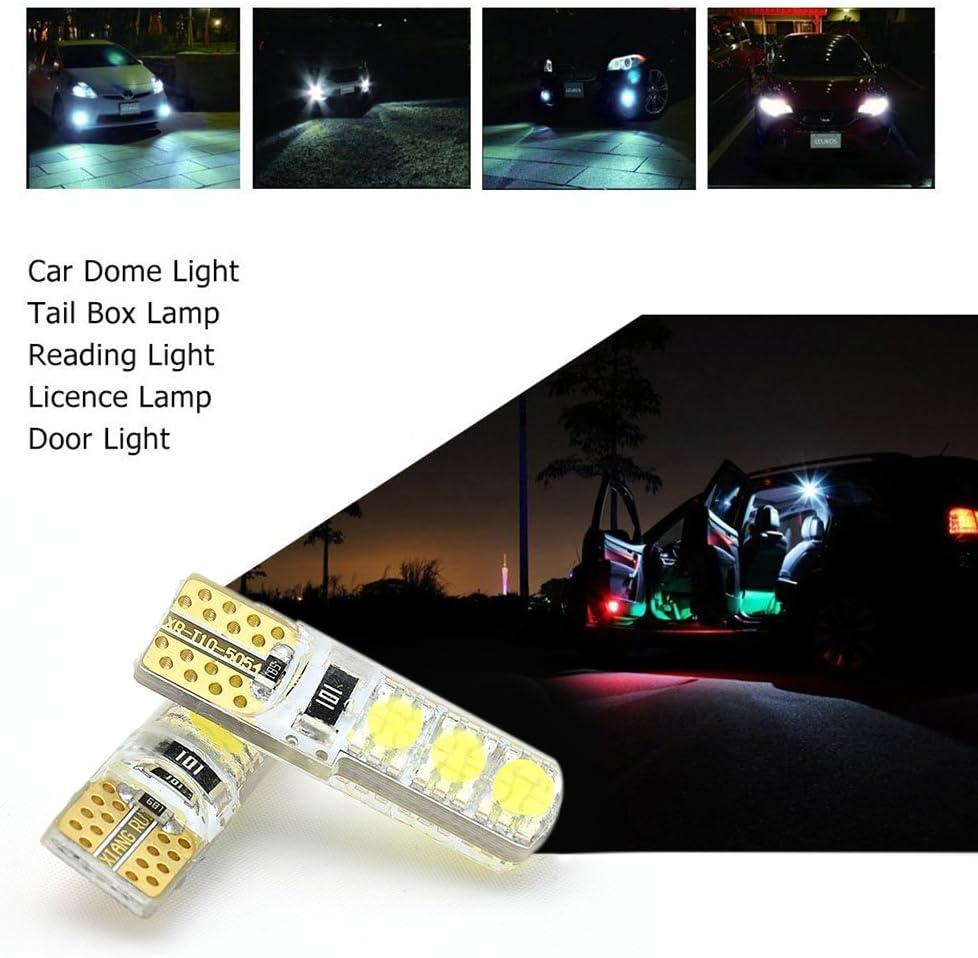 White T10 LED Bulbs,Caroki T10 5054 12V 6LED Festoon Dome Light LED Bulbs,LED Replacement Bulbs 2PCS