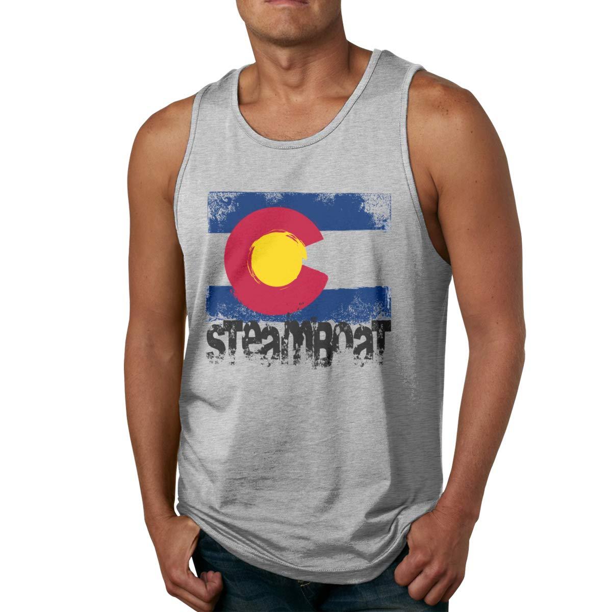 Seuriamin Steamboat Colorado Flag Summer Hiking Sleeveless Tank Top T Shirts