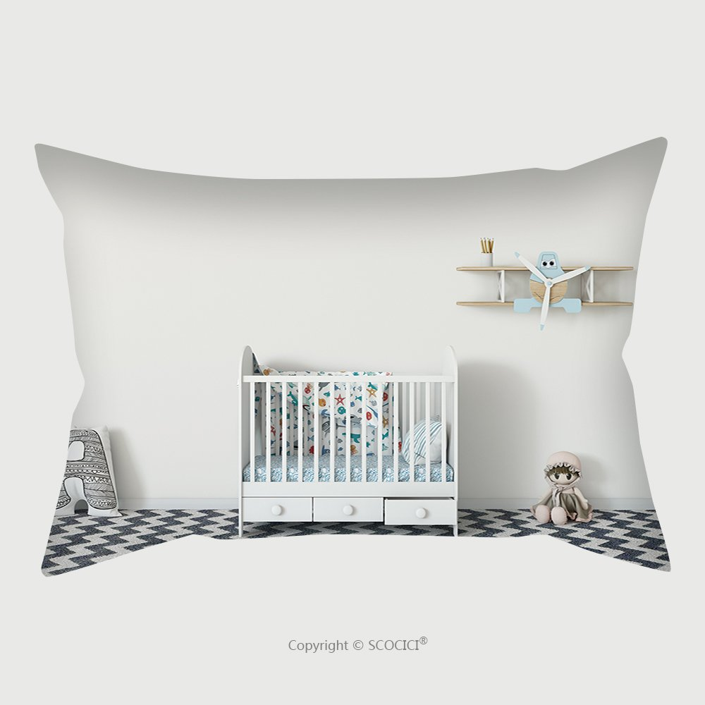 Custom Satin Pillowcase Protector Mock Up Wall In Child Room Interior Interior Scandinavian Style D Rendering D Illustration 608998655 Pillow Case Covers Decorative