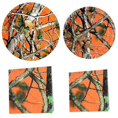 (Havercamp Orange Vista Camo Party Bundle | Dinner & Dessert Plates, Luncheon & Beverage Napkins | Great for Nature Lovers, Outdoor Enthusiasts, Family Reunions, Birthday Party, Barbecues and Cookouts)