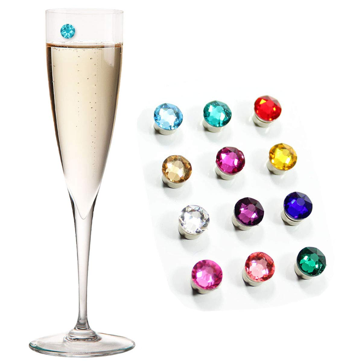 Swarovski Crystal Magnetic Wine Glass Charms Set of 12 Glass Markers that Work on Stemless Glasses - Gift/Storage Box Included by Claim Your Glass