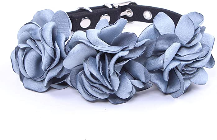 Amazon Com Sks Pet Roses Collar Necklace For Small Dogs Cats Girl Teacup Yorkie Handmade Adjustable S Blue Pet Supplies