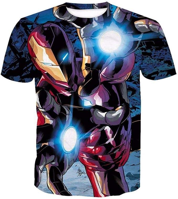 Lonimor Camiseta De Manga Corta Algodón con Cuello Redondo De Manga Corta Impresa 3D Unisex Mujer Hombres Iron Man XS-XXXL: Amazon.es: Ropa y accesorios