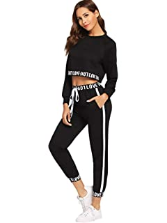 bbc64e21f806 SweatyRocks Women's 2 Pieces Outfits Crop Sweatshirt and Long Pants  Tracksuits Set Sportwear