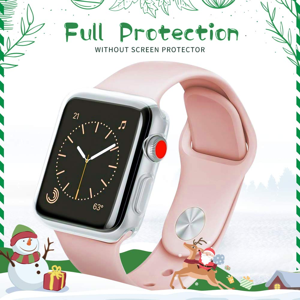 LELONG Compatible with Apple Watch Case 38mm 42mm 40mm 44mm, Soft TPU All-Around Clear Screen Protector Cover for iWatch Series 4,Series 3, Series 2 by LELONG (Image #3)