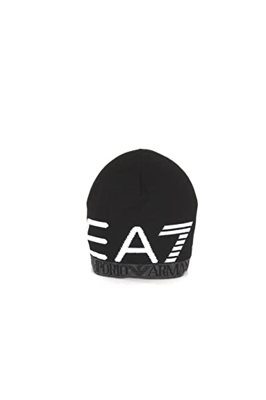 bd7e7fdf54 Emporio Armani EA7 Train Visibility Printed Black Beanie Hat L:  Amazon.co.uk: Clothing