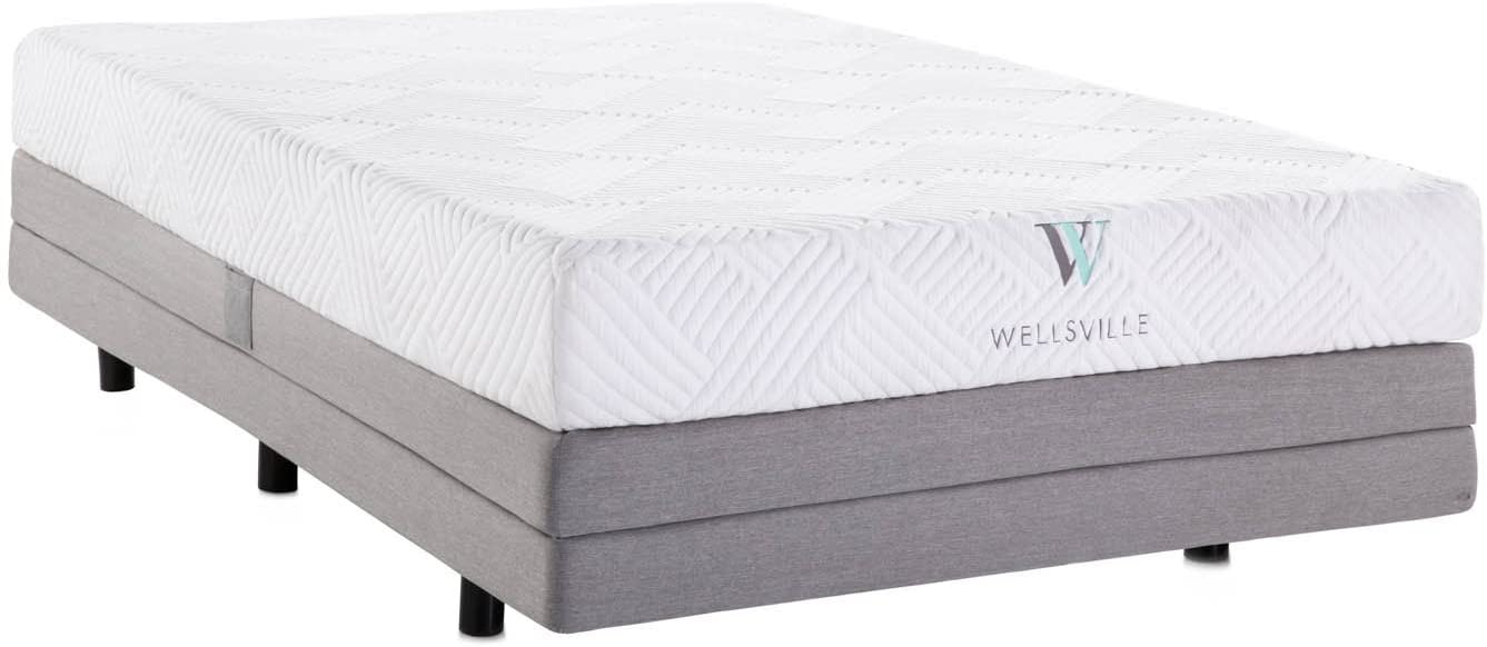 WELLSVILLE Luxury Temperature Control Gel Memory Foam Mattress – CertiPUR-US Certified King Grey White