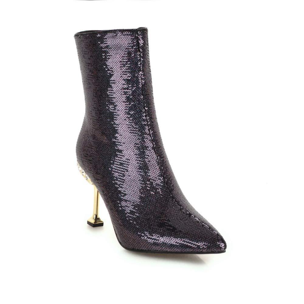 QINGMM Damenmode Wies Ankle Stiefel Pailletten Pailletten Pailletten Damenschuhe 2018 Hochhackige Party & Evening Kurze Stiefel Größe 32-43 7aa36c