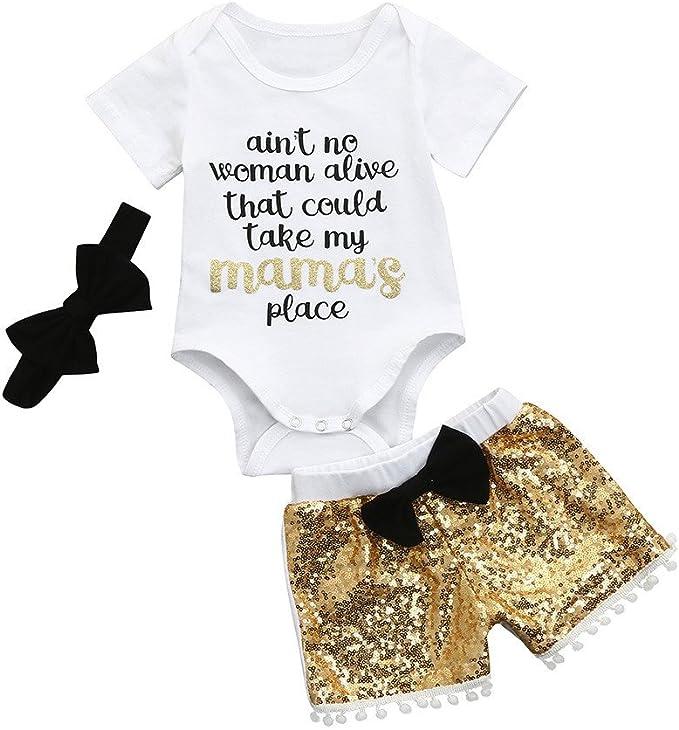 feiXIANG Conjunto de Ropa Infantil para niños y niñas Carta Mono Ropa + Lentejuelas Pantalones Cortos + Banda de Pelo Traje de Tres Piezas Traje Traje bebé niña: Amazon.es: Electrónica