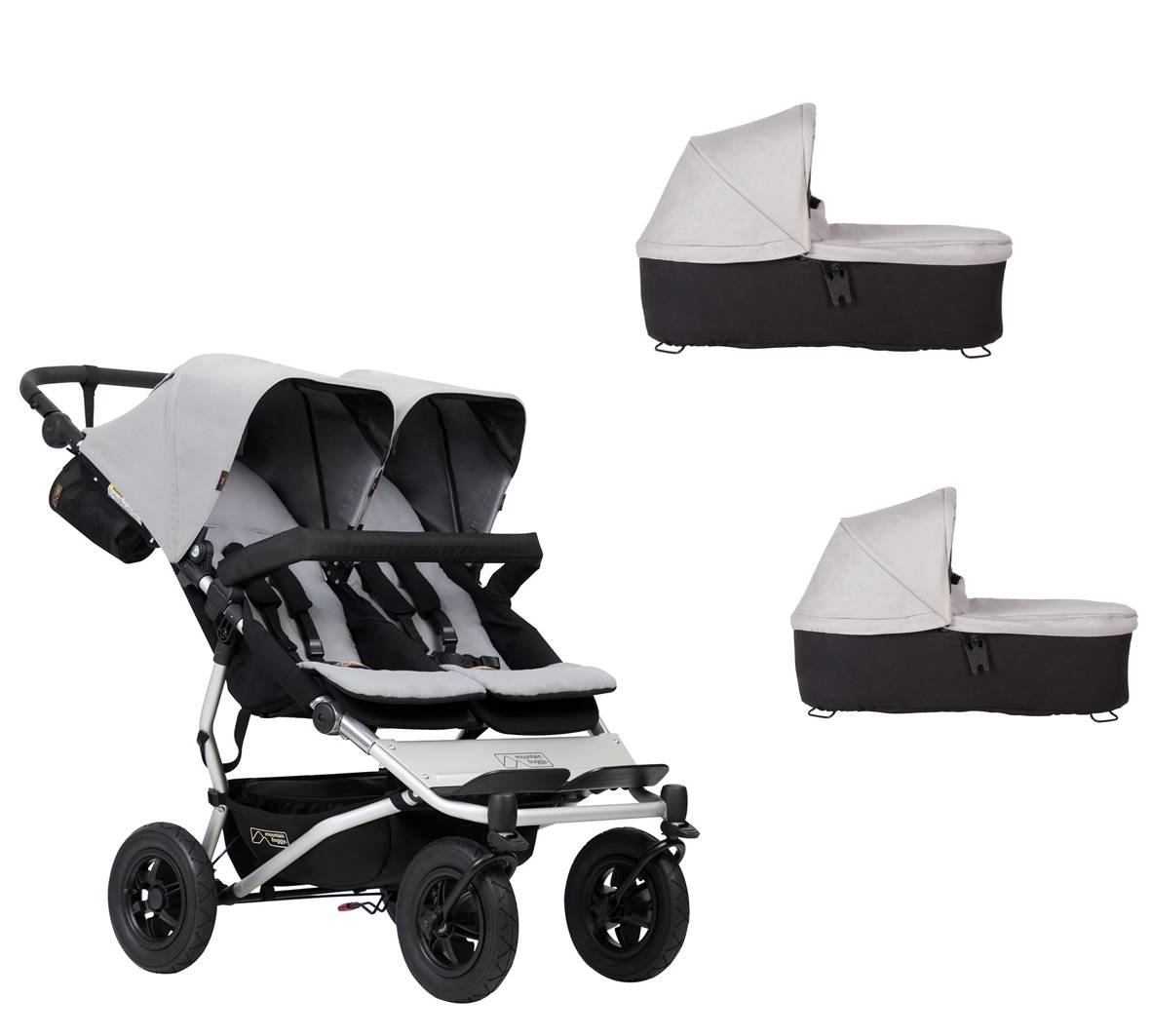 Mountain buggy Duet Buggy V3 como doble asiento de Buggy + 2 Baby rígida - Plata: Amazon.es: Bebé