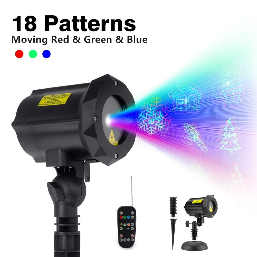 ShiRui Garden Laser Light, Outdoor Christmas Laser Light Projector Holiday, Landscape, Hallowmas Decorations Waterproof Moving 18 Patterns in 3 Modes with RF Remote Control and Security Lock by ShiRui