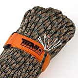 """TITAN SurvivorCord   FOREST CAMO   103 Feet   Patented Military Type III 550 Paracord / Parachute Cord (3/16"""" Diameter) with Integrated Fishing Line, Fire-Starter, and Snare Wire."""