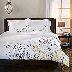 Amazon 3 piece white modern floral kingcalifornia king size 3 piece white modern floral kingcalifornia king size duvet cover set grey yellow flowers spring theme bedding beautiful vibrant embroidery color whimsy mightylinksfo Image collections