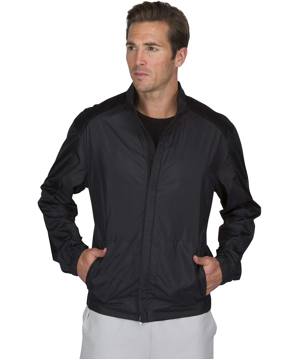 Three Sixty Six Full Zip Golf Jacket for Men - Lightweight Mens Rain Coat - Water Resistant Windbreaker Jet Black by Three Sixty Six