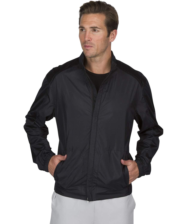 Three Sixty Six Full Zip Golf Jacket for Men - Lightweight Mens Rain Coat - Water Resistant Windbreaker Jet Black